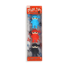 A set of three ninja erasers dressed in blue, red, and black.