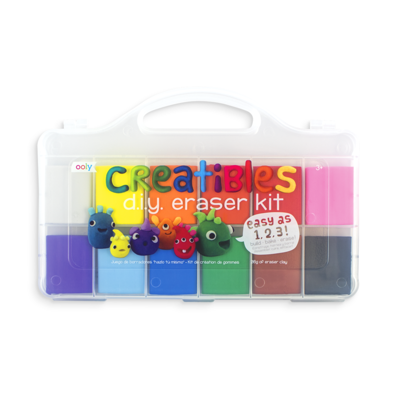 A kit of diy erasers that includes 12 colors that can be molded into different shaped erasers