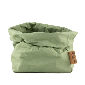 Rolled Uashmama paper bag in green Salvia color.