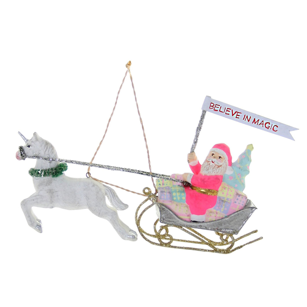 Believe in Magic Silver Sleigh Ornament