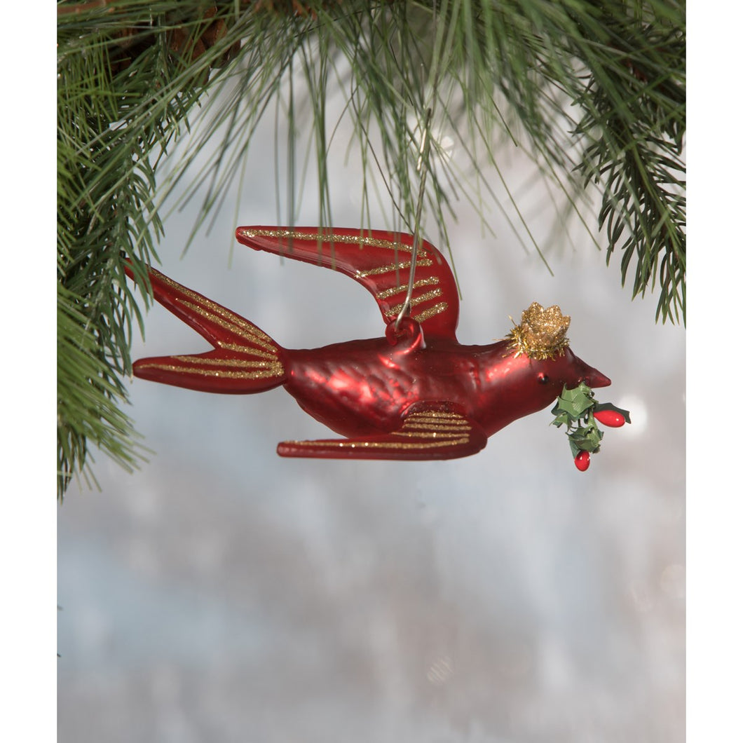 Glass Red Bird Ornament