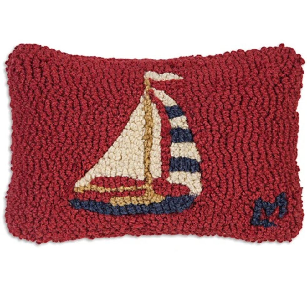 Red Sky Sailboat Mini Pillow