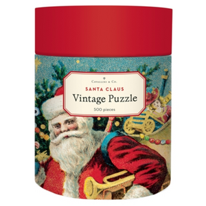 Puzzle tube container with the image of Vintage Santa, holding toys in front of a tree illustrated by Cavallini & Co.
