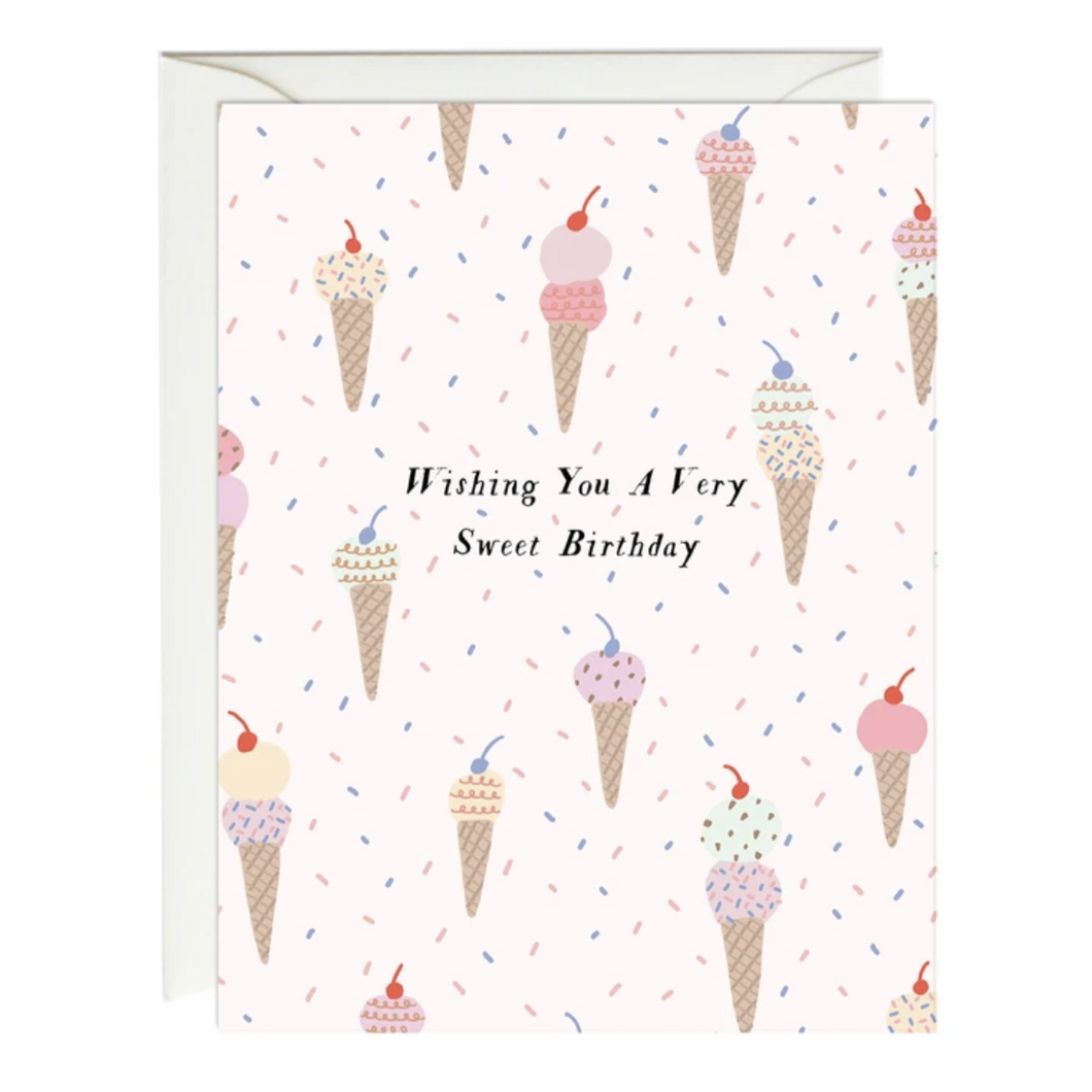 Ice Cream Birthday Card, Paula & Waffle