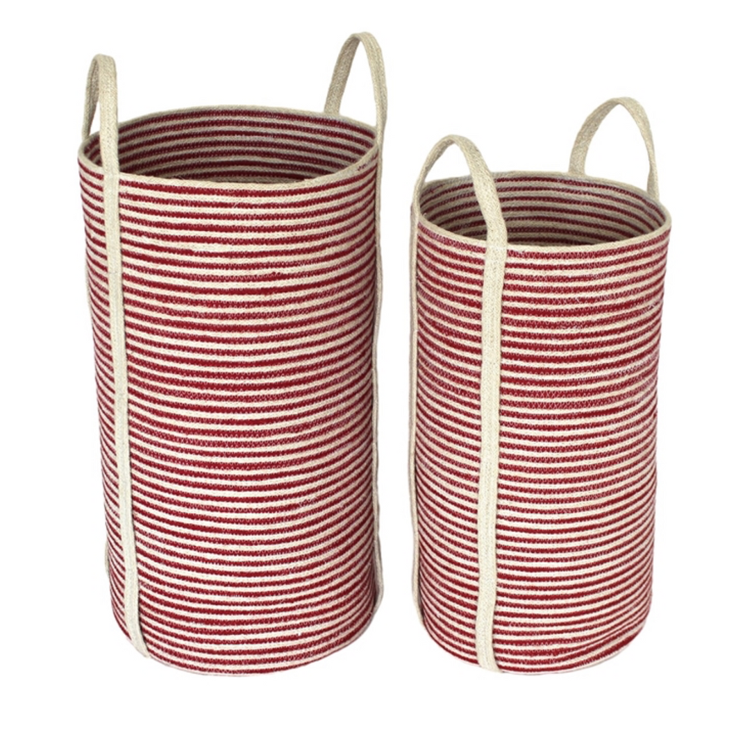 Small Red & White Jute Basket