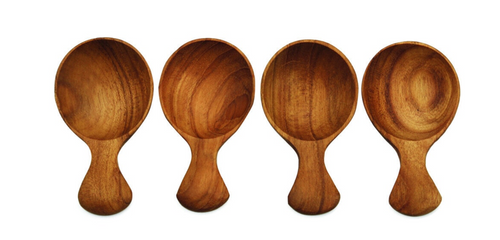 Teak Round Scoop, Set of 4 Small