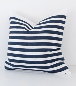 Navy Stripe Linen Pillow