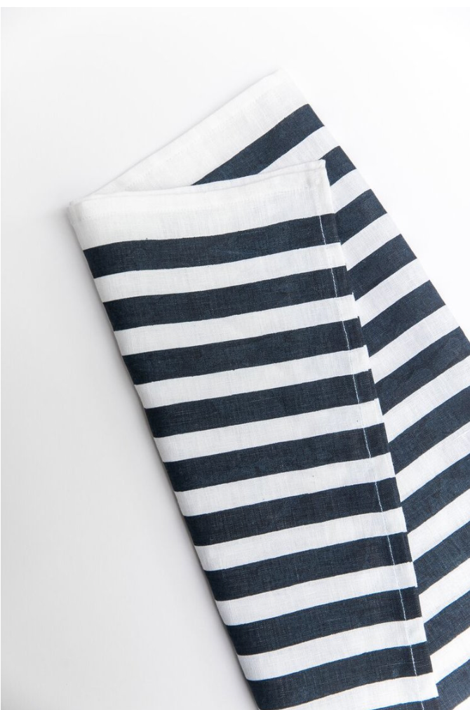 Navy Blue Stripe Linen Dish Towel