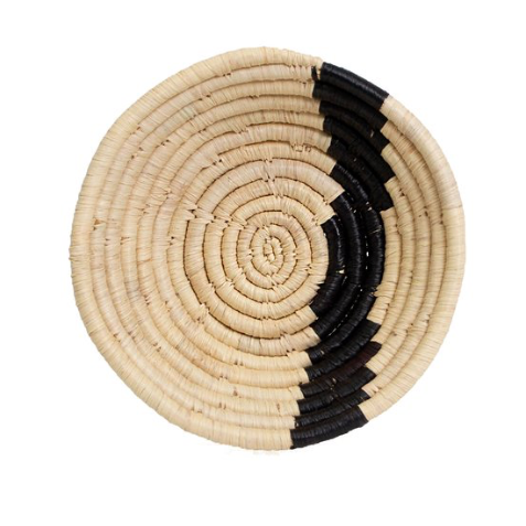 Black + Natural Raffia Bowl Small