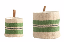 Load image into Gallery viewer, Green Striped Jute Basket