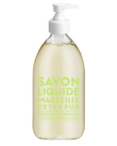 "Glass Liquid Soap bottle labeled ""Savon Liquide Marseille Extra pur, Verveine Fraiche"""