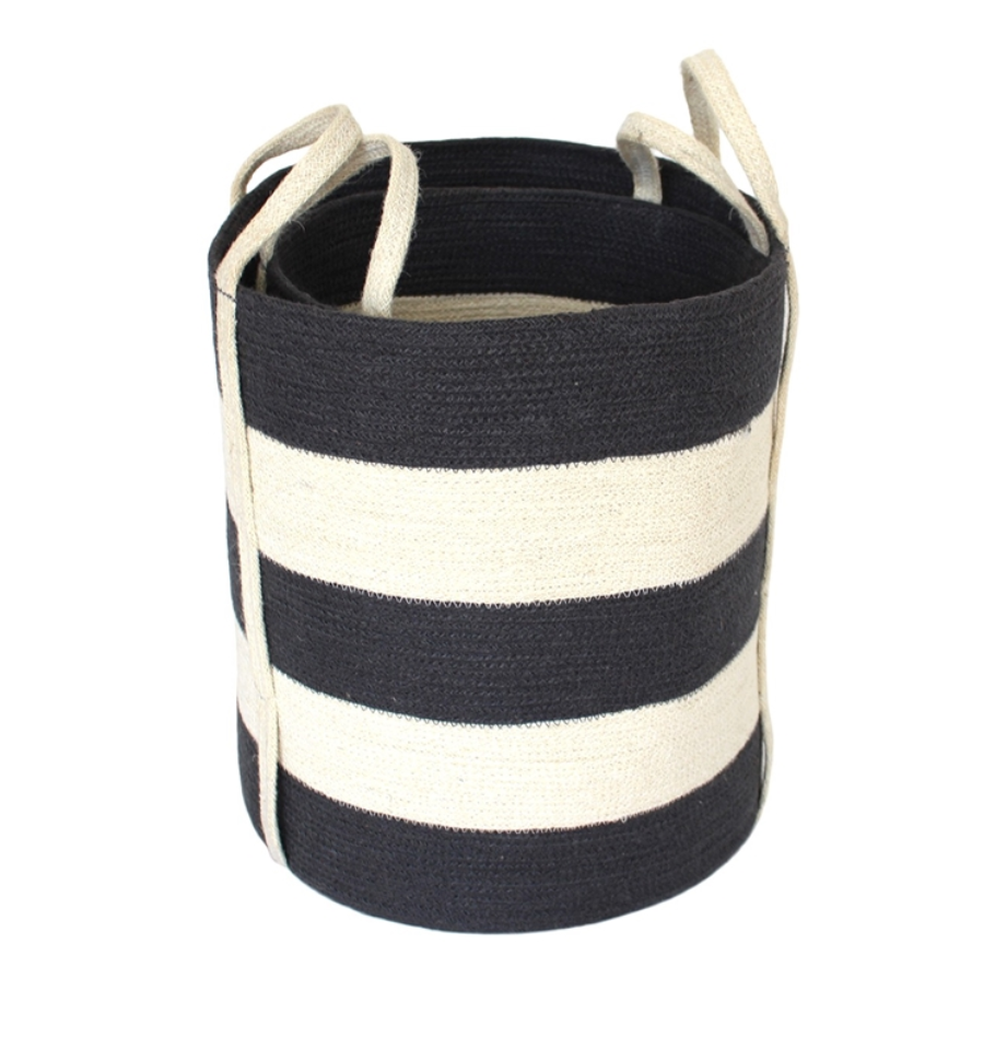 Round Wide Stripe Jute Basket