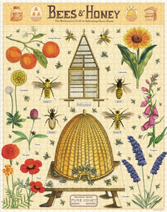 Bees and Honey puzzle by Cavallini & Co. An assortment of bees and flowers and fruit with a beehive in the center