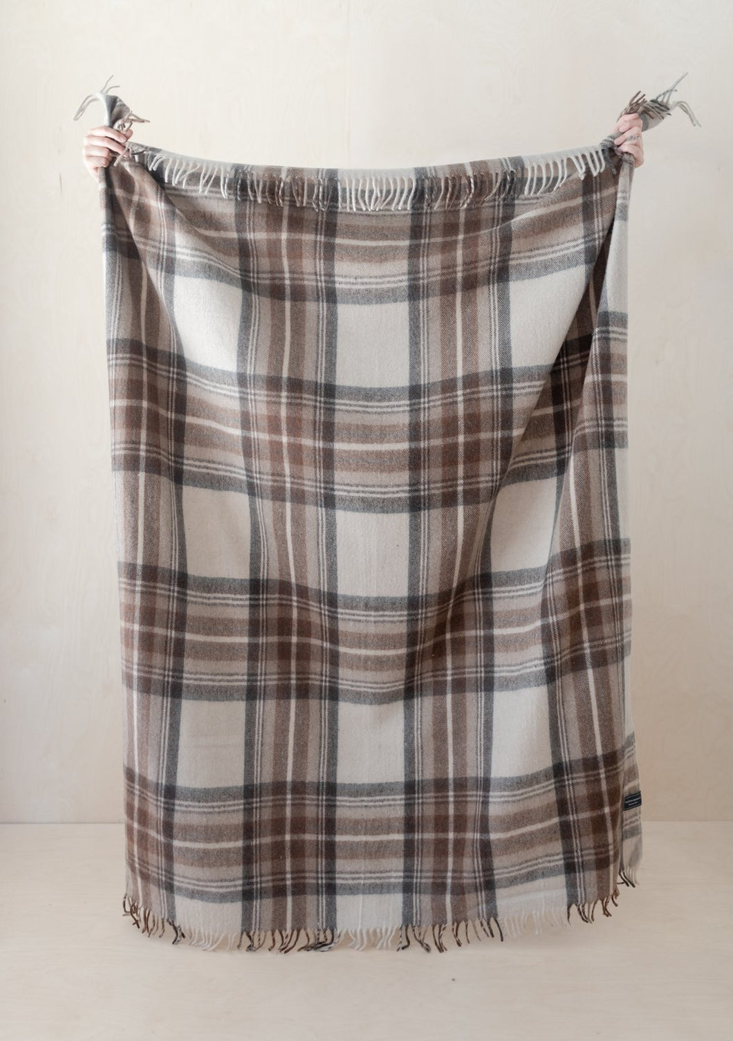 Recycled Wool Blanket in Stewart Natural Dress Tartan, Tartan Blanket