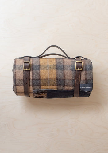 Recycled Wool Waterproof Picnic Blanket in Buchanan Natural Tartan, Tartan Blanket