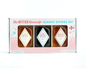 A kit of three 50 ml bottles of classic cocktail bitters including, Cardamom Bitters, Old Fashioned Aromatic Bitters, and Orange Bitters