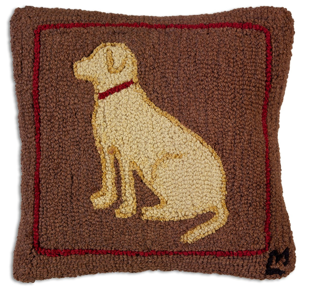 Yellow Dog on Brown Pillow