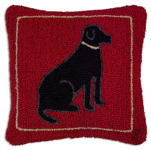Black Dog On Red Pillow