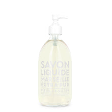 "Load image into Gallery viewer, Glass Liquid Soap bottle labeled ""Savon Liquide Marseille Extra pur, Fleur De Coton"""