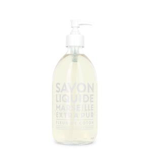 "Glass Liquid Soap bottle labeled ""Savon Liquide Marseille Extra pur, Fleur De Coton"""