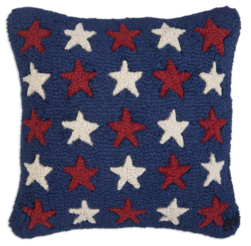 Red and White Stars on Blue Pillow