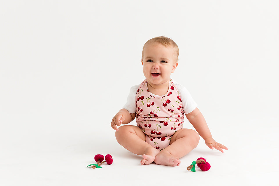 Commando Baby - Cherries Pink - Commando Baby - Australian brand - onesie - eco friendly - kids clothing - Australian designed - babywear - australian babywear - commando crawler - baby onesie