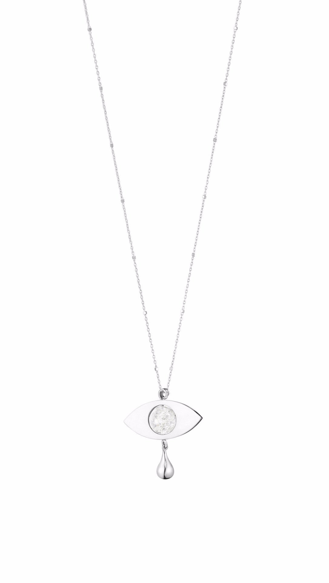 CRYING EYE · NECKLACE · SILVER W. ROCK CRYSTAL
