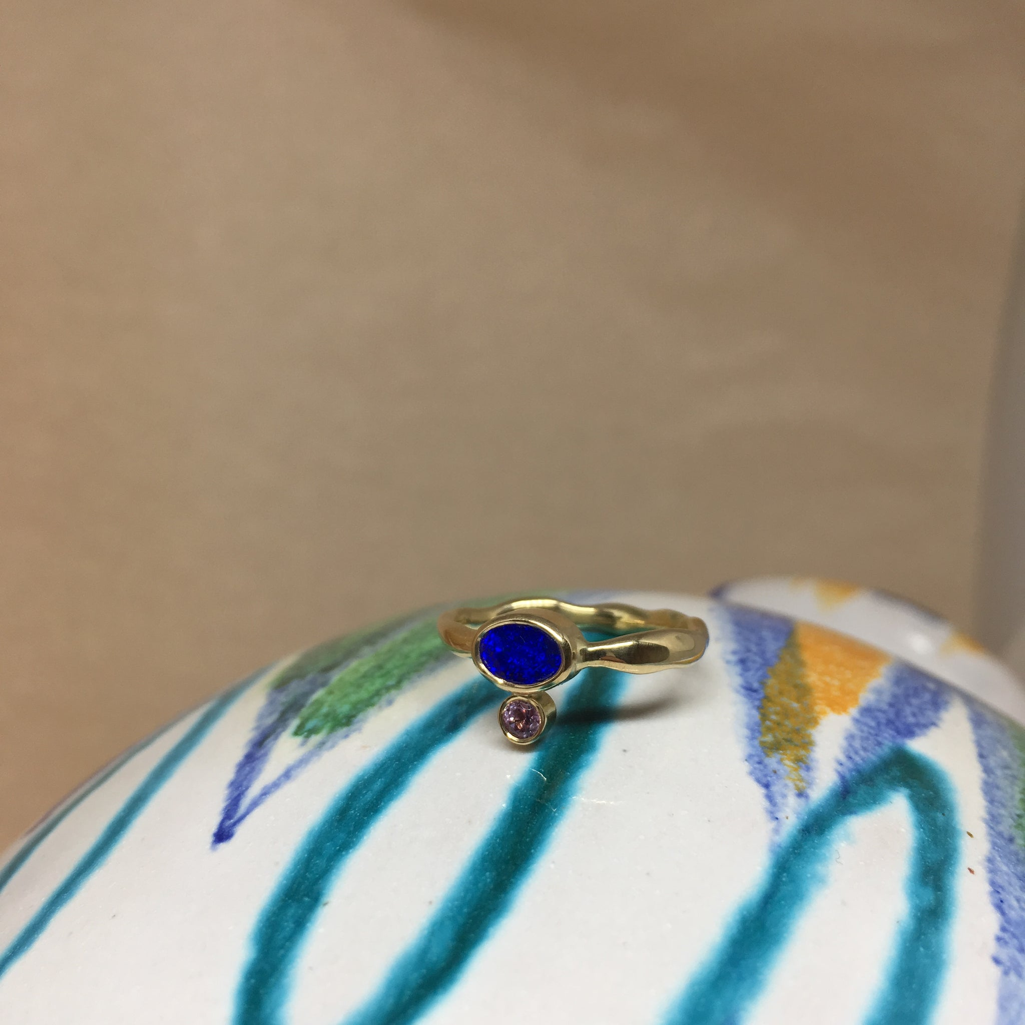Deep blue opal ring