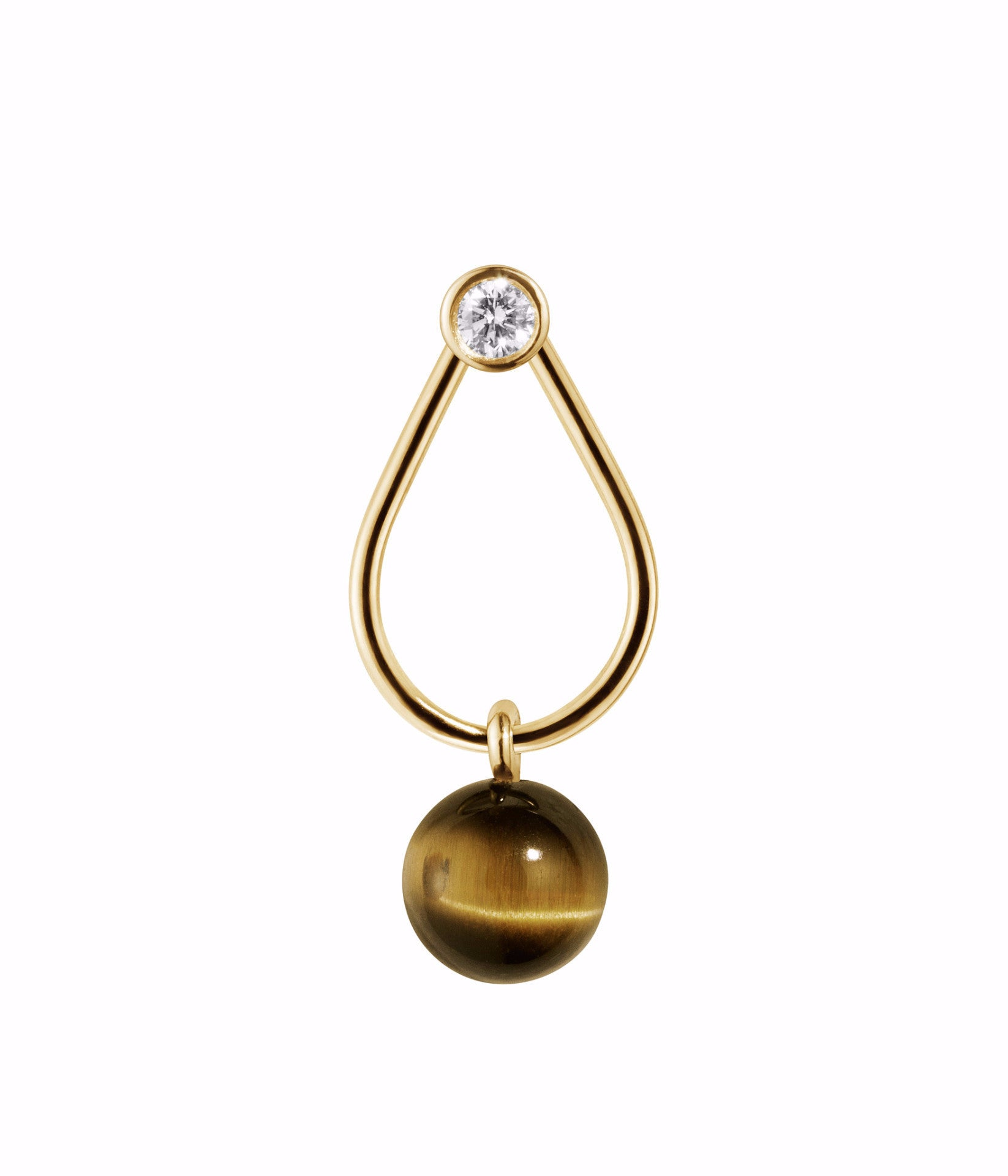 TIGER EMBRACE · EARRING · 18KT. GOLD W. DIAMOND AND TIGER'S EYE