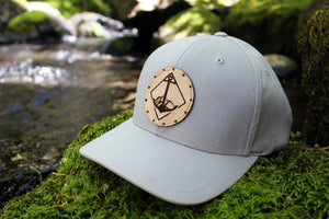Grey flexfit w/ natural full grain tanned leather & R&A Anchor Circle Logo