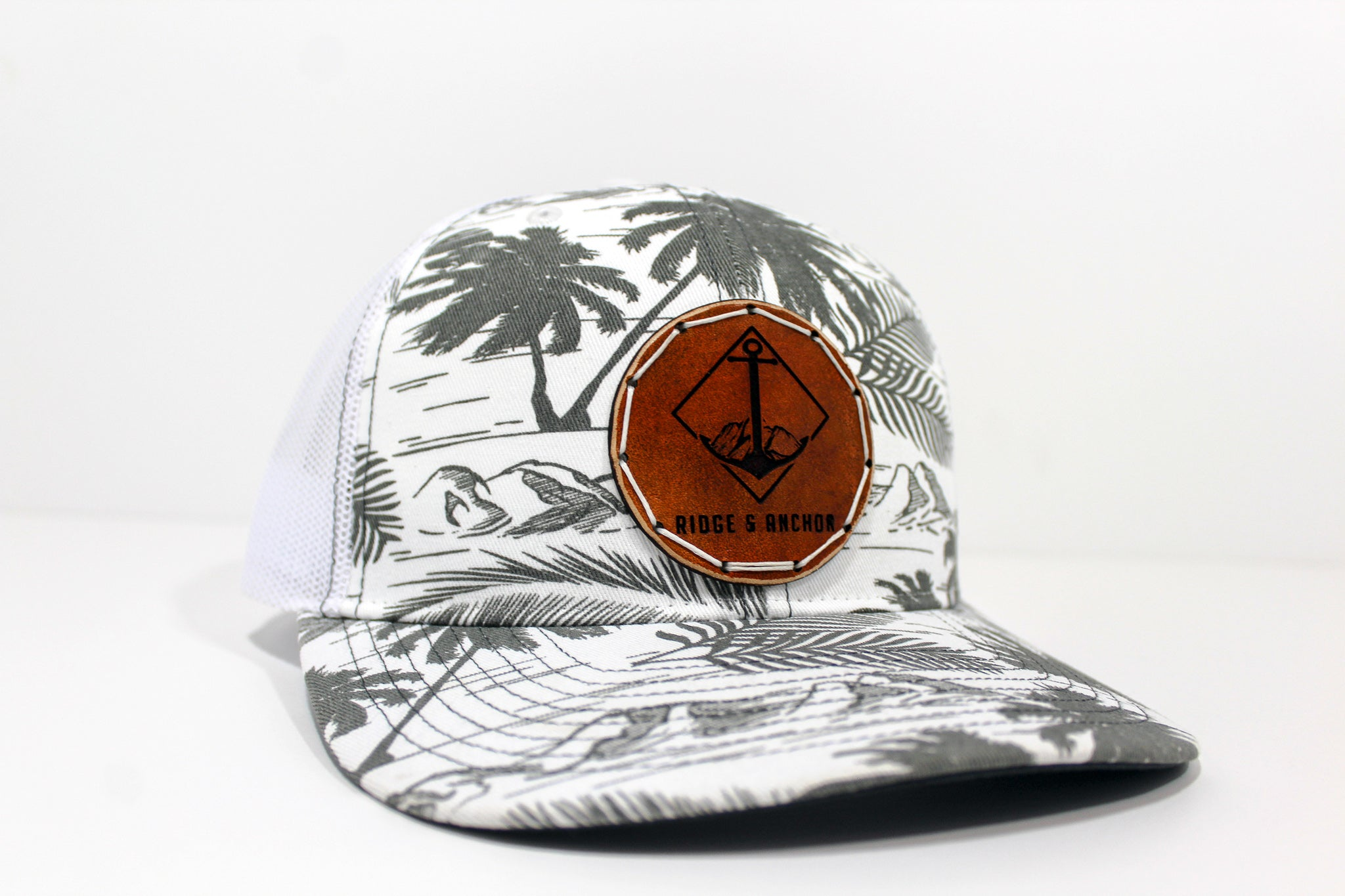 Limited White & Black Island Trucker Mid Profile - R&A Anchor Circle Logo & White Thread