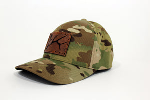 Multicam flexfit custom leather patched hat w/ R&A Elk Shed Patch