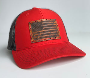 Red & Black Trucker Mid Profile - American Flag Patch & Red Thread