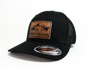 Flexfit Cotton Trucker Mesh Hat - Black w/ salmon logo