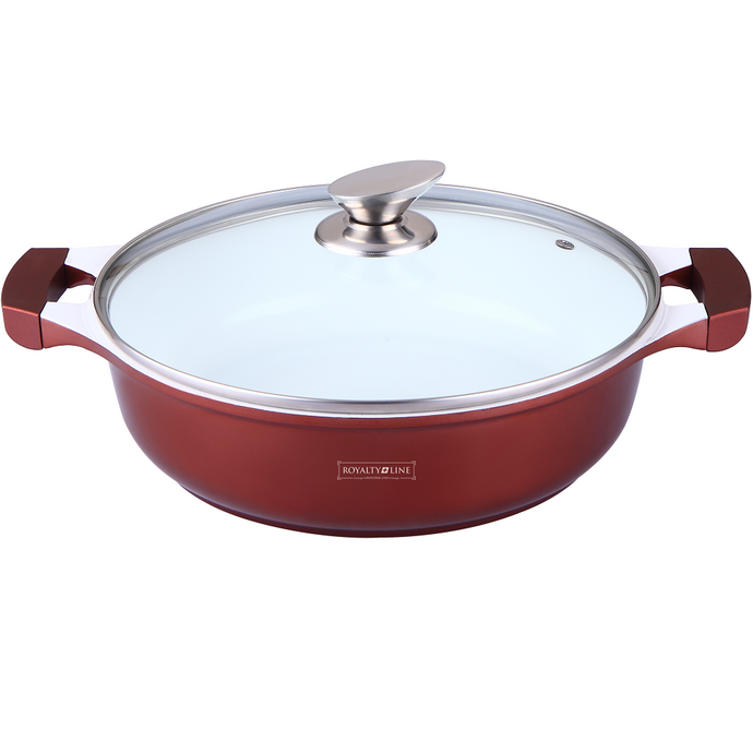 Royalty Line 32cm Ceramic Coating Shallow Pot - Burgundy