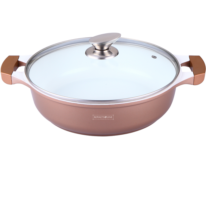 Royalty Line 26cm Ceramic Coating Shallow Pot - Copper