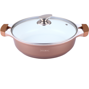 Royalty Line 32cm Ceramic Coating Shallow Pot - Copper