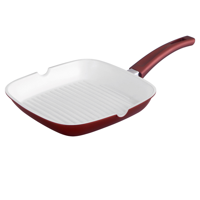 Royalty Line 24cm Ceramic Coating Grill Pan - Burgundy
