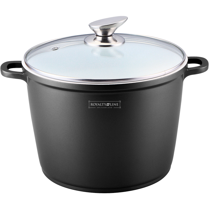 Royalty Line 28cm Ceramic Coating Stock Pot - Black