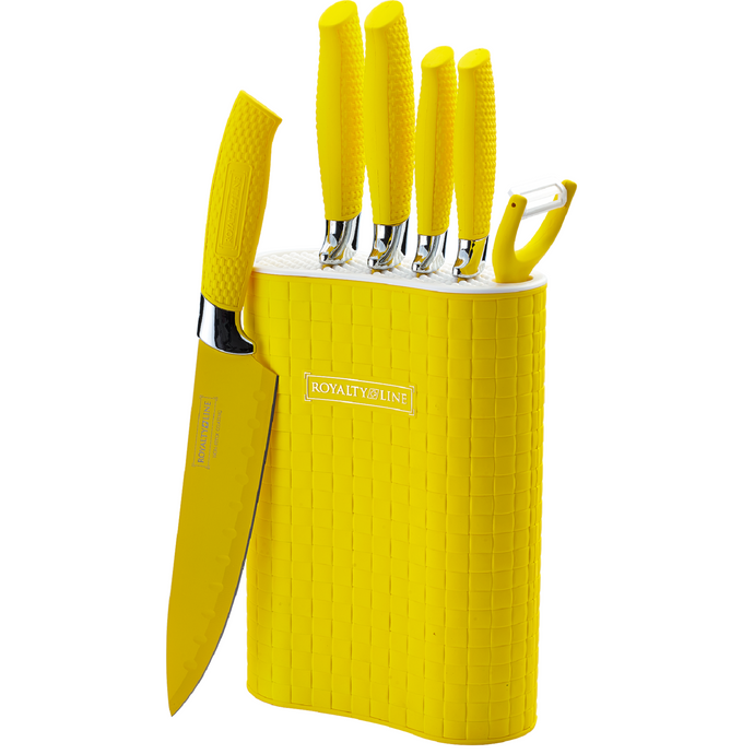 Royalty Line 6 Piece Non-Stick Coating Knife Set with Stand - Yellow