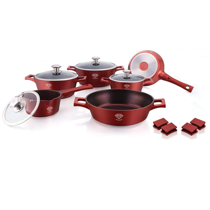 Royalty Line 14-piece Diamond Coating Cookware Set - Burgundy