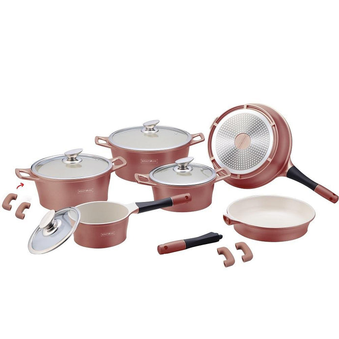 Royalty Line 14-piece Ceramic Coating Cookware Set - Copper