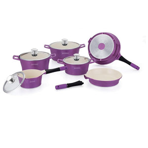 Royalty Line 14-piece Ceramic Coating Cookware Set - Purple