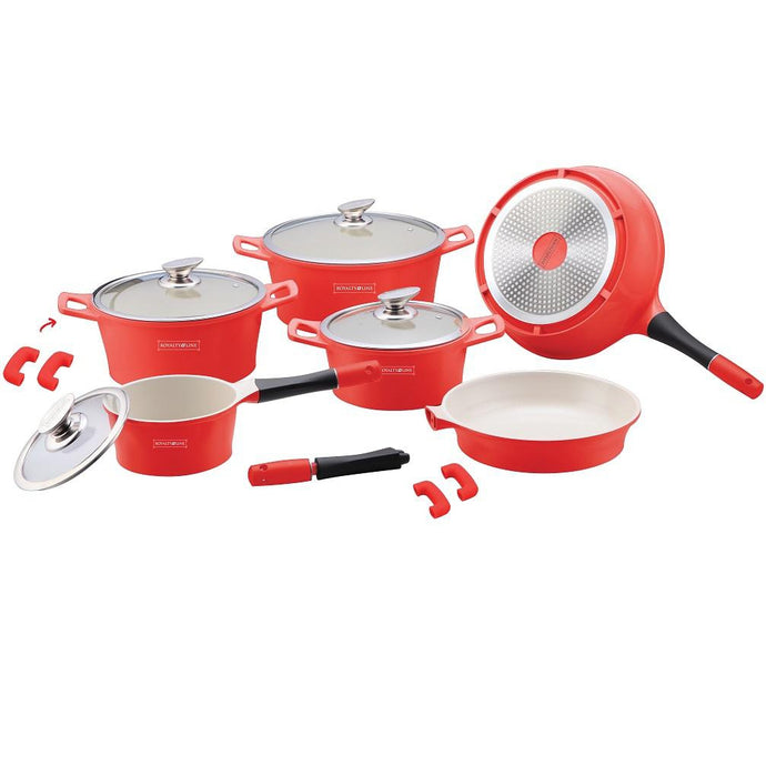 Royalty Line 14-piece Ceramic Coating Cookware Set - Red