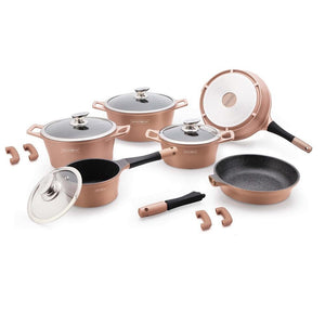 Royalty Line 14-piece Marble Coating Cookware Set - Copper