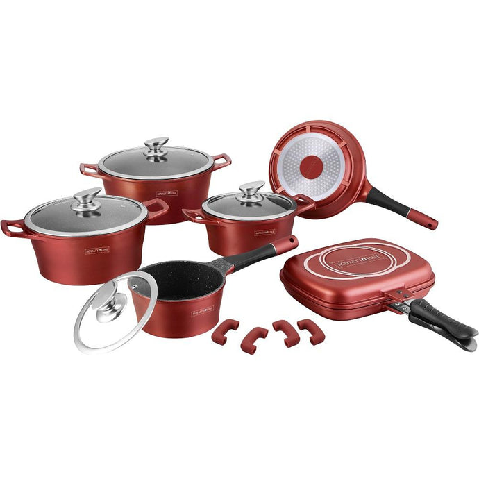 Royalty Line 15-piece Marble Coating Cookware Set - Burgundy