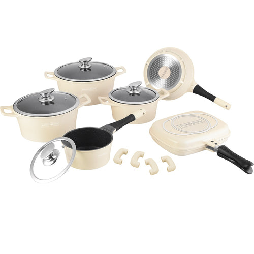 Royalty Line 15-piece Marble Coating Cookware Set - Cream