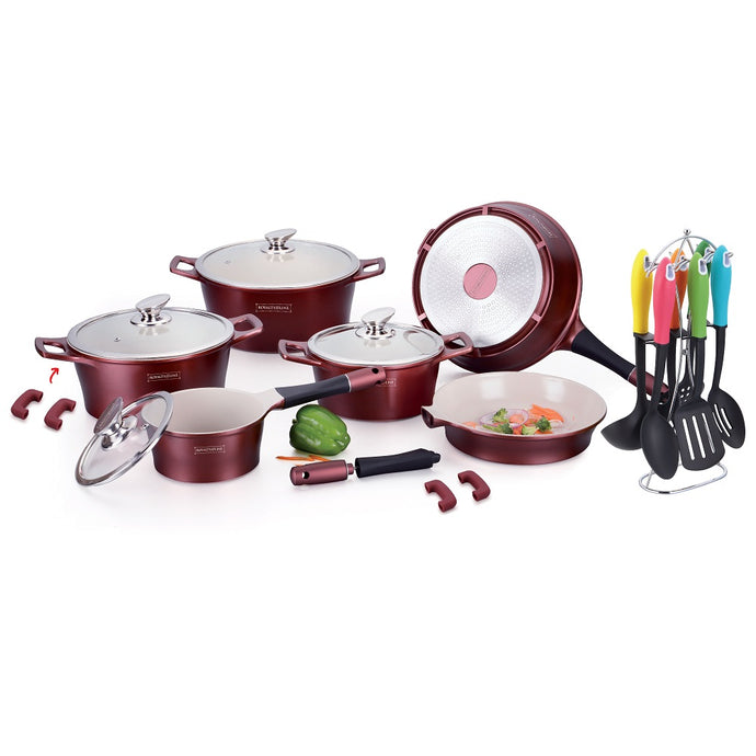 Royalty Line 21-piece Ceramic Coating Cookware Set - Burgundy