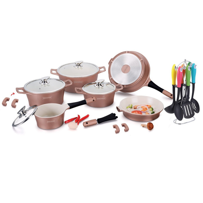Royalty Line 21-piece Ceramic Coating Cookware Set - Copper
