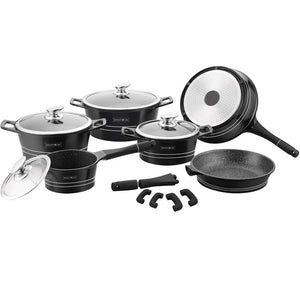 Royalty Line 14-piece Marble Coating Cookware Set - Black